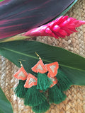 Tropical green earrings - jiakuma.myshopify.com