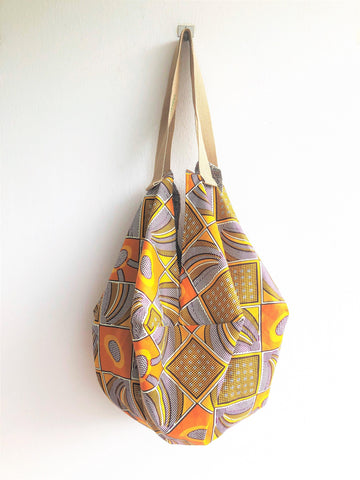 Origami sac shoulder bag, African fabric shopping eco bag, reversible tote bag  | Sahara sand