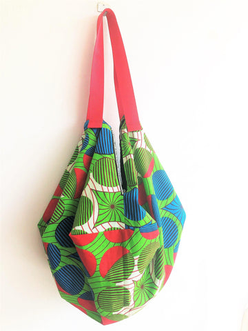 Handmade eco origami sab bag, shoulder bag groceries tote | Wheel of colours