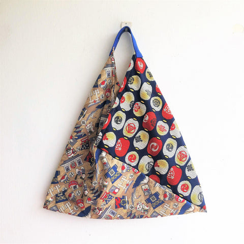 Shoulder origami triangle Japanese inspired bento bag | Daruma