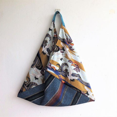 Origami eco frendly bento bag, shoulder fabric tote bag | Tzuru crane