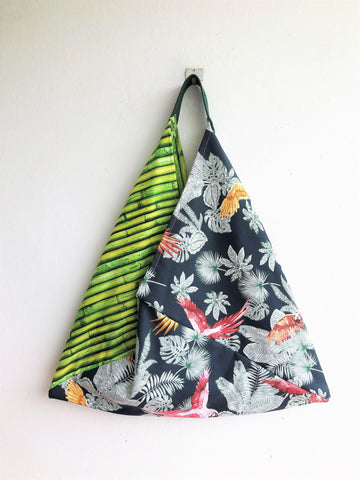 Eco friendly handmade triangle shoulder bag, bento tote bag | Bamboo