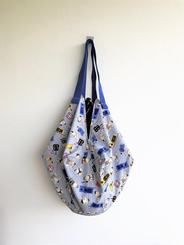 Origami sac bag, shoulder Japanese inspired bag, ooak reversible fabric eco bag | Sumo & Velvet lines