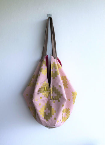 Origami sac shoulder bag , eco reversible fabric bag, octagonal bag | Gold geometry
