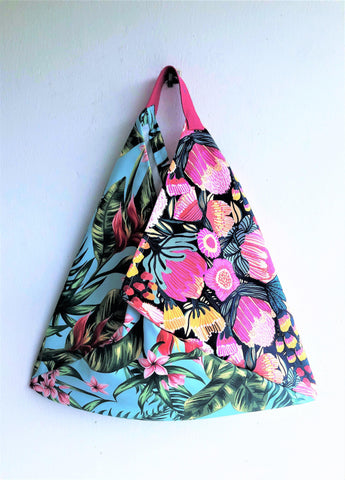 Orgami shoulder bent bag, tropical tote eco friendlly foldable fabric tote bag | Botanical