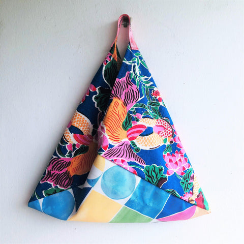 Origami  handmade bento bag, special vintage fabric edition, 1960's hand painted  colorful fabric | El Jardin del Eden