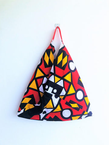 Origami bento bag, shoulder triangle summer African Fabric bag , Africa tote bag | Angola