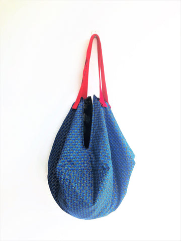 Shoulder Japanese fabric origami sac bag, handmade Japanese inspired sac bag | Blue & Gold Japan