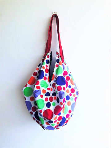 Shoulder eco shopping bag, origami sac summer bag, polka dots colorful tote bag | Polka colors
