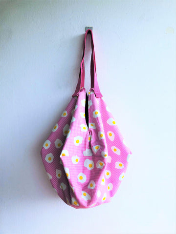 Shoulder sac summer bag, origami reversible ooak fabric bag, eco friendly bag | Fried egg