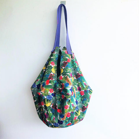 Colorful plants fabric bag, origami sac shoulder bag, shopping tote reversible bag | Desert flora