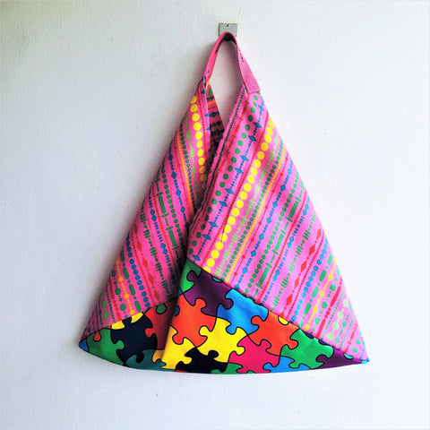 Origami colorful bento bag, ooak fabric reusable tote bag, triangle tote bag | Arlecchino in Pink
