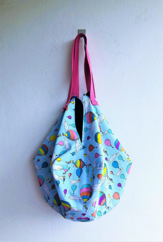 Origami  shoulder bento bag, eco reversible shopping bag | Travelling in an air balloon