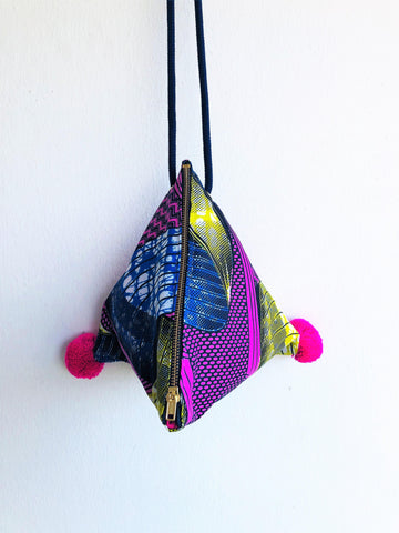 Pom pom summer bag, origami cross over bag, cute small African fabric bag | Infinite Africa
