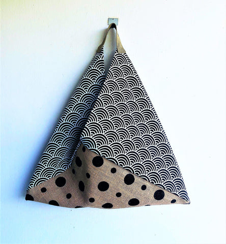 Origami bento shoulder bag, Eco friendly Jute original tote bag | Japanese waves & Polka dots