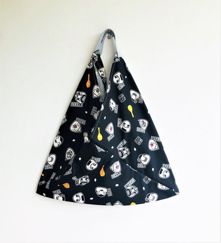 Origami bento shoulder bag, Japanese inspired tote bag | Black cartoons