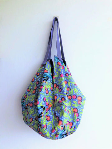 Shoulder origami bento bag , sac shape large tote bag | Colourful Jungle of Malaya
