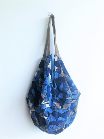Eco origami sac, Japanese inspired shoulder handmade bag | Blue Japan