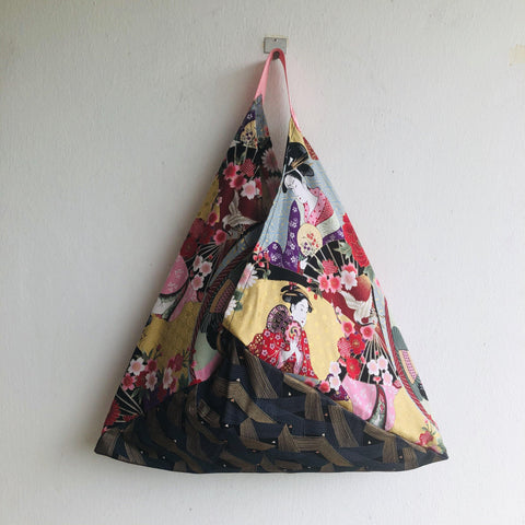 Origami shoulder Japanese fabric bag, handmade one of a king bag | Geisha and gold