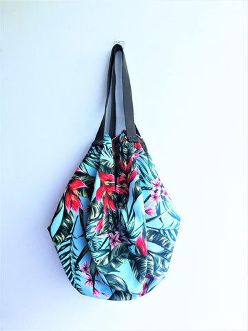 Origami shoulder sac bag, eco handmade shopping groceries reversible bag | Tropicalia