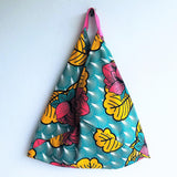 Origami bento bag, tropical print tote bag, triangle shopping eco bag | Tropical lotus