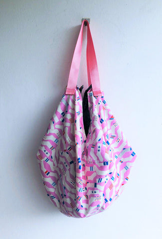 Origami sac shoulder bag, cool fabric eco friendly reversible shopping tote bag | Sock world