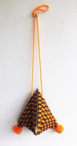Triangle geometric origami cross shoulder handmade bag | African shells - jiakuma.myshopify.com