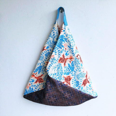Origami shoulder bag, limited edition vintage hand painted fabric, bento bag | Gold fish garden
