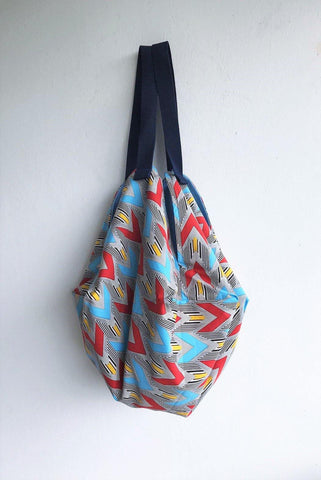 Origami sac shoulder bag , eco friendly handmade reversible bag | Red arrows - jiakuma.myshopify.com