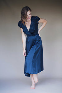 Silk Wrap Dress in Lapis