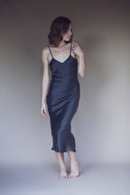 Silk Slip Dress in Off Black