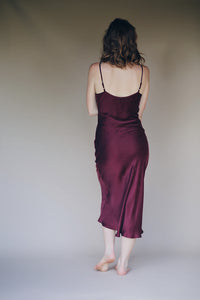 Silk Slip Dress in Bordeaux