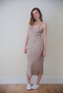 Silk Slip Dress in Polka Dot