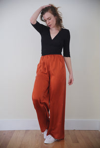 Silk Lounge Pants in Clay