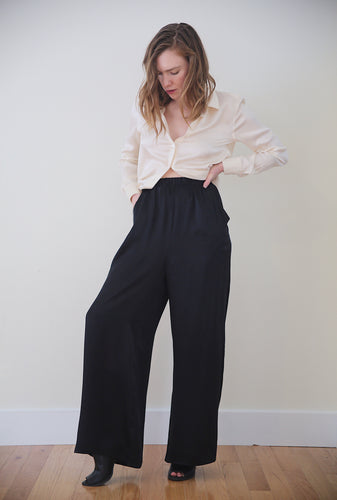 Silk Lounge Pants in Obsidian