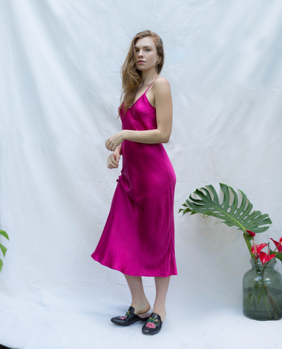 Silk Slip Dress in Fuchsia