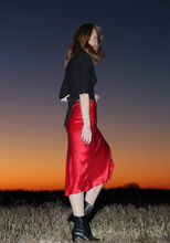 Silk Slip Skirt in Red Roses