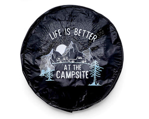 "Spare Tire Cover 29"" Life is Better at the Campsite Black, Sunrise 2 Color"