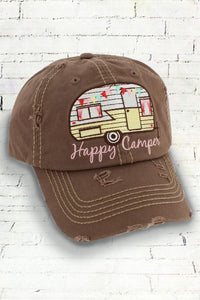 "Distressed Mocah ""Happy Camper"" Cap"