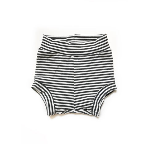 Bamboo Shorties in Monochrome Microstripe