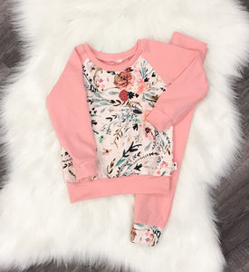 Floral and Rose Raglan and Pant Set