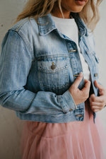 Tiny Rhinestone Cropped Denim Jacket - Pretty Southern Mess