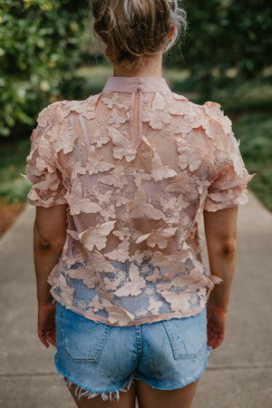 Sheer Butterfly Short Sleeve Top-Tops-Womens-Southern-Boutique-Shop