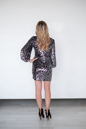 Sequin Leopard Long Sleeve Dress - Pretty Southern Mess