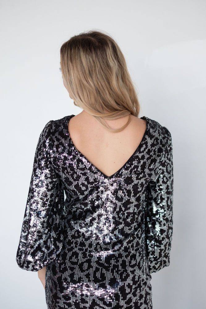 Sequin Leopard Long Sleeve Dress-Dresses-Womens-Southern-Boutique-Shop