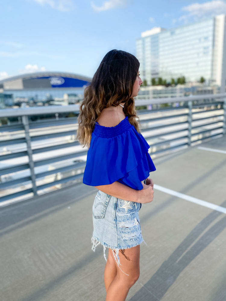 Royal Blue Ruffle Top-top-Womens-Southern-Boutique-Shop