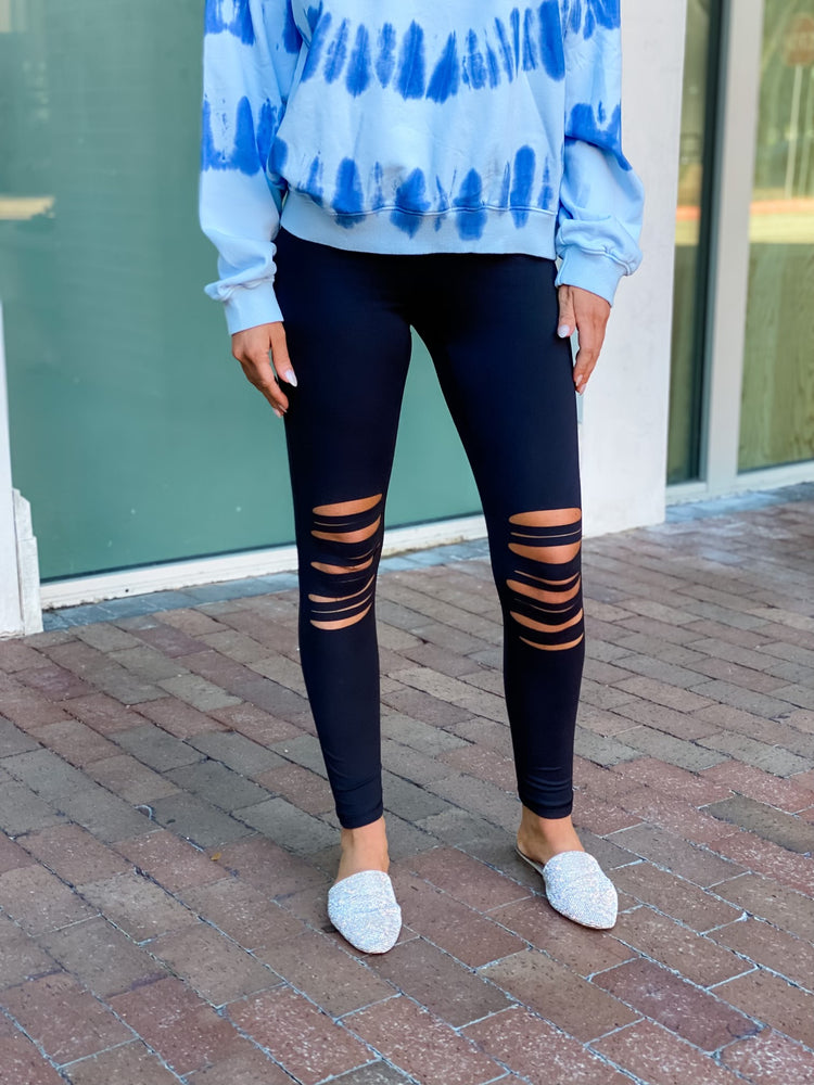 Shredded Knee Leggings--Womens-Southern-Boutique-Shop