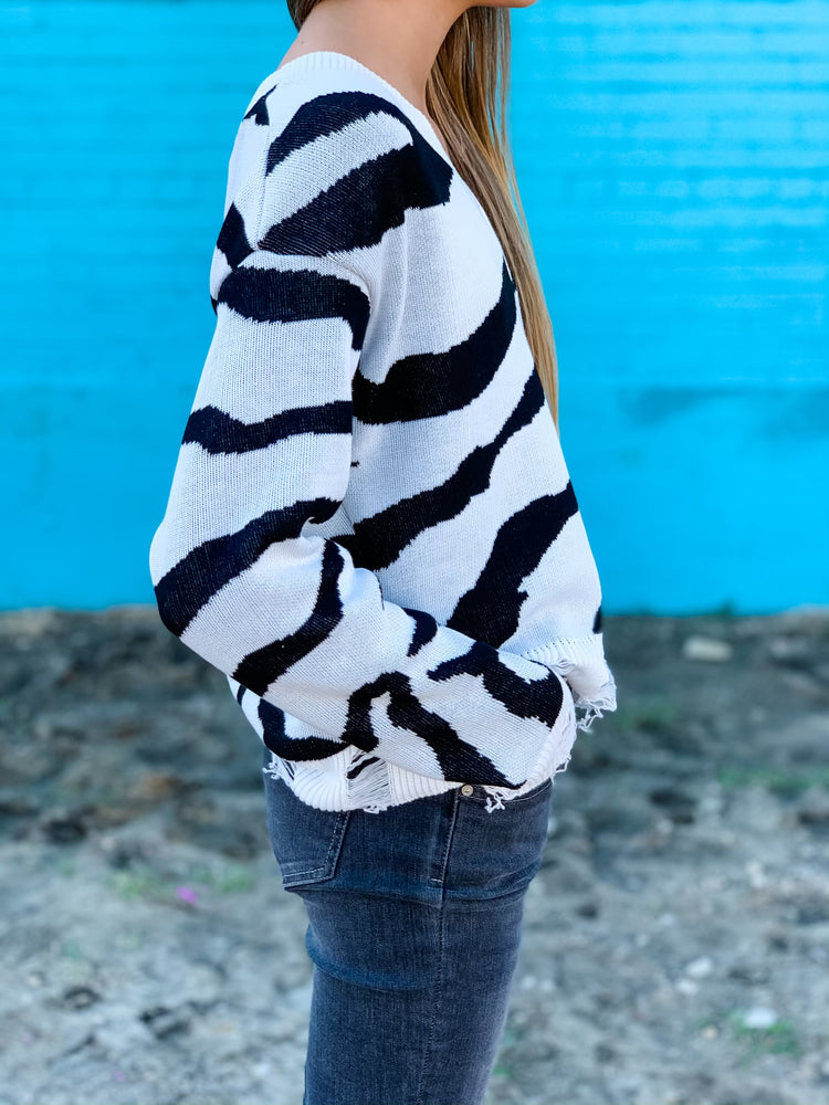 Distressed Zebra Sweater--Womens-Southern-Boutique-Shop