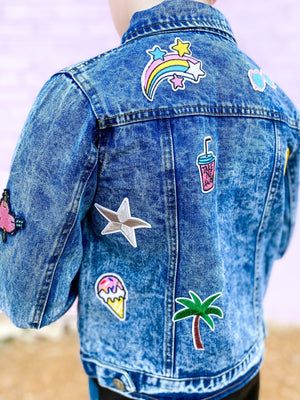 All About That Patch Denim Jacket--Womens-Southern-Boutique-Shop