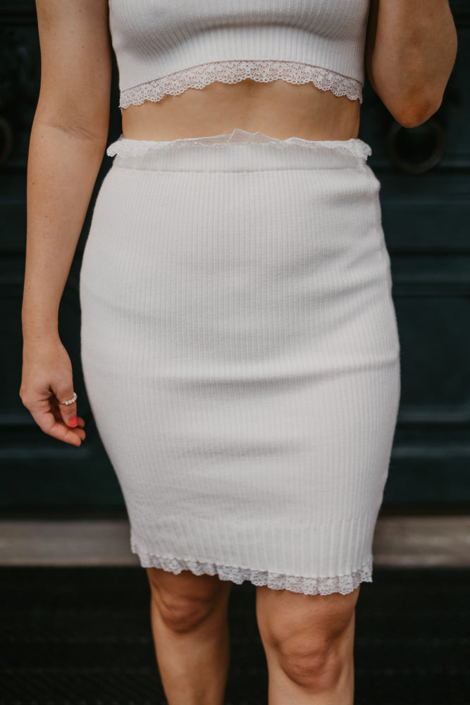 High Waist Knitted Trim Lace Mini Skirt - Pretty Southern Mess